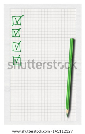 piece of squared paper with completed checklist over white background - stock photo