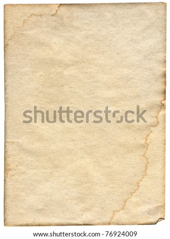 piece of stained paper isolated on white background - stock photo