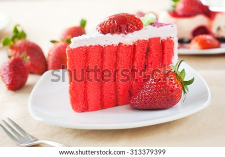 piece of strawberry cake on plate
