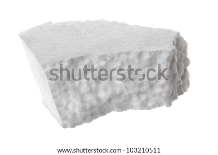 Piece of Styrofoam on white background