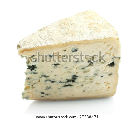 Piece of tasty blue cheese isolated on white - stock photo