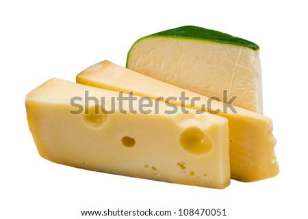 Piece of tasty fresh cheese isolated on white