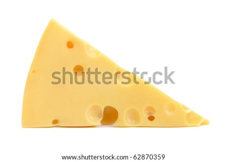 Piece of tasty fresh cheese isolated on white - stock photo