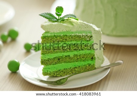 Piece of tasty lime cake, close up - stock photo