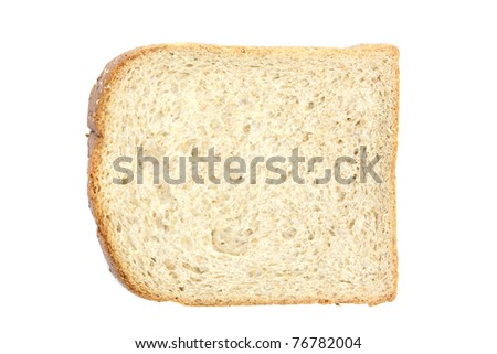 Piece of toast bread isolated on white background in Close-up