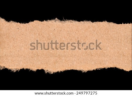 piece of torn kraft paper on a black background - stock photo