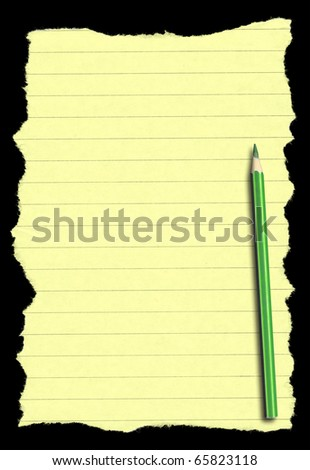 piece of torn lined paper and pencil isolated on deep black background, edges are very frayed - stock photo