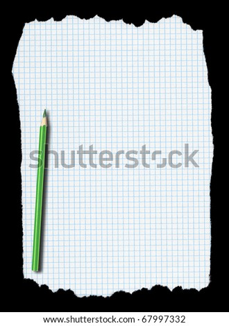 piece of torn squared paper and pencil isolated on deep black background, edges are very frayed - stock photo