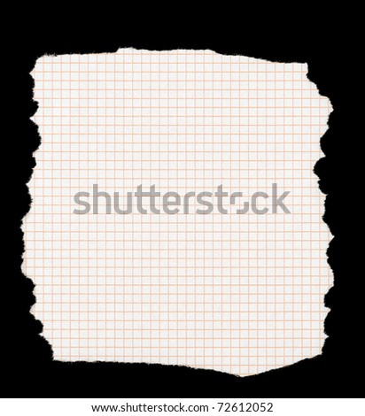 piece of torn squared paper isolated on deep black background, all edges are very frayed - stock photo