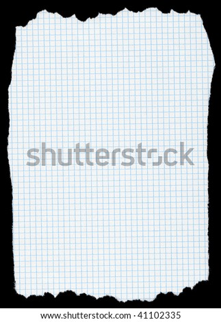 piece of torn squared paper isolated on deep black background, edges are very frayed - stock photo
