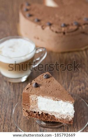 Piece of triple chocolate cake - stock photo