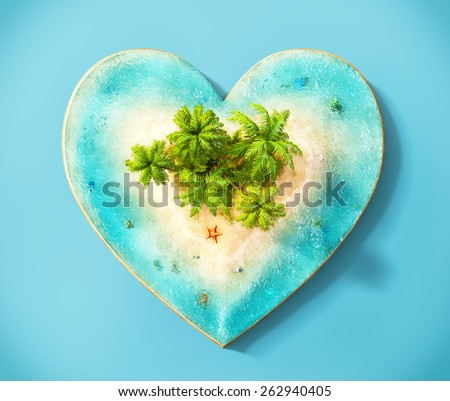 Piece of tropical island with water and palms on a beach in cross section in shape of heart.  Unusual travel illustration. Top view - stock photo