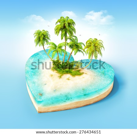 Piece of tropical island with water and palms on a beach in cross section in shape of heart.  Unusual travel illustration - stock photo