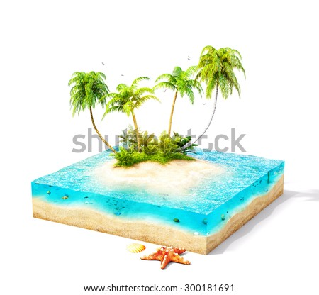 Piece of tropical island with water and palms on a beach in cross section.  Unusual travel illustration. Isolated on white - stock photo
