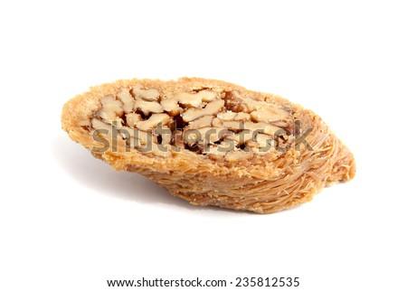 Piece of turkish baklava isolated over white background - stock photo