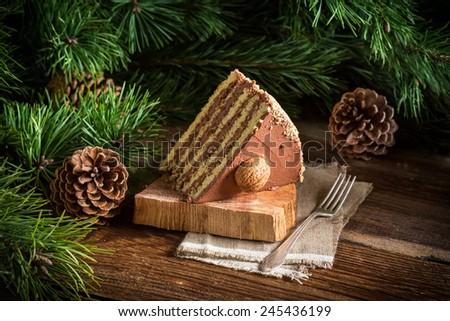 Piece of walnut cake - stock photo