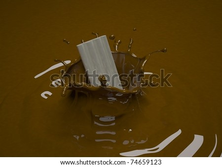 Piece of white chocolate thrown in dark brown chocolate - stock photo