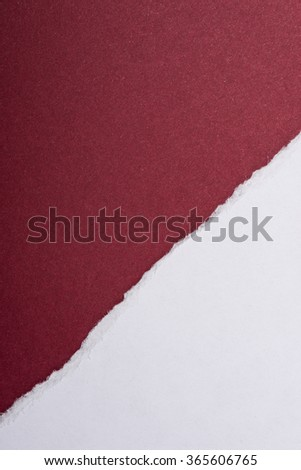 Piece of white torn paper over the dark red background - stock photo