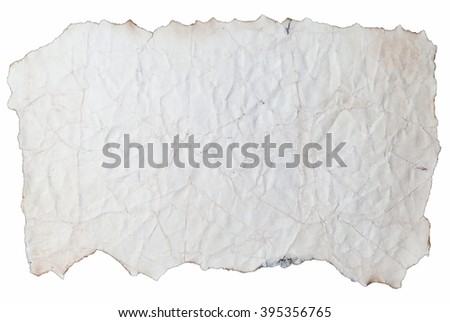 Piece of Wrinkled Paper with Burnt Edges Isolated on White Background - stock photo