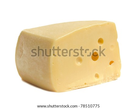 piece of yellow cheese on white background - stock photo