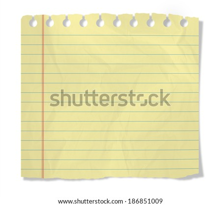 piece of yellow notebook sheet  isolated on white - stock photo