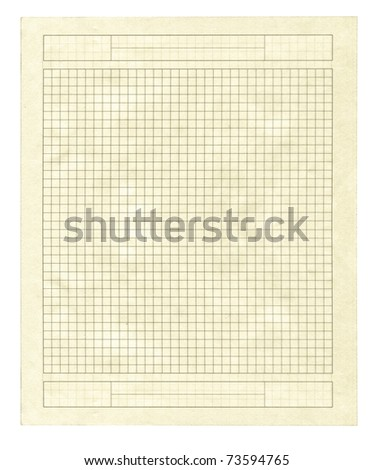 piece of yellow squared paper isolated on pure white background - stock photo