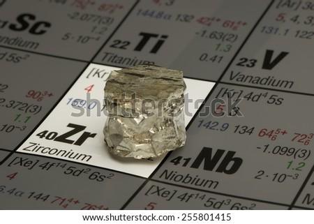 piece of zirconium on periodic table of elements - stock photo