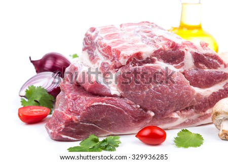 piece raw meat with bone from on side on white background. for advertising, banner or print