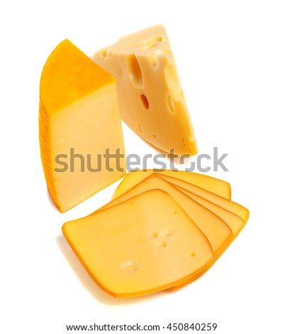 Pieces and slices of cheese. Isolated on white background - stock photo
