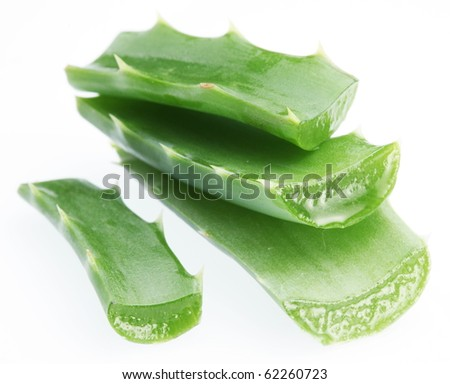 Pieces of aloe vera. Isolated on a white background. - stock photo