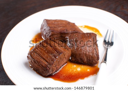 Pieces of beef flank steak horizontal - stock photo