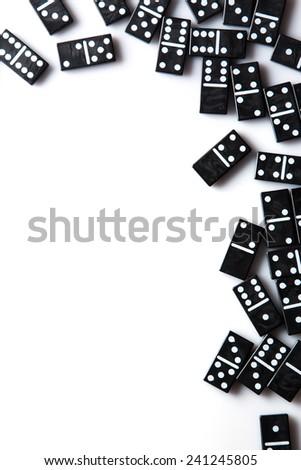 Pieces of  black domino tiles - stock photo