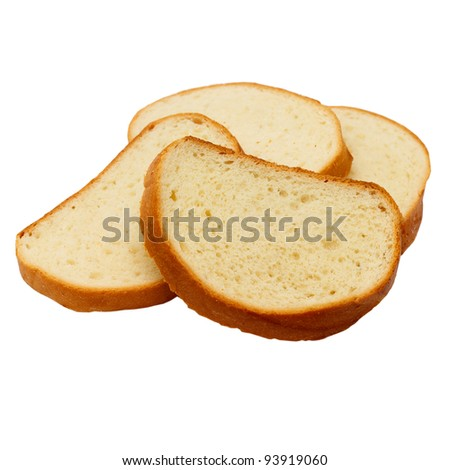 pieces of bread loaf isolated on white background - stock photo