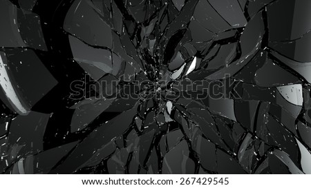 Pieces of broken or cracked glass on black. Large resolution - stock photo