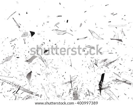 Pieces of Broken Shattered glass on white - stock photo