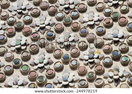 Pieces of ceramic decorated on temple in Wat Phra Kaew, Bangkok, Thailand