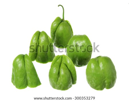 Pieces of Chayote on White Background - stock photo