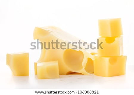 Pieces of cheese isolated on a white background - stock photo