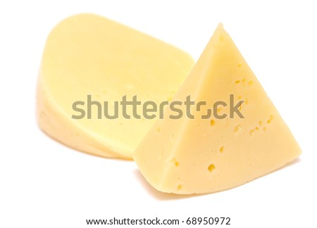 pieces of cheese isolated on white - stock photo