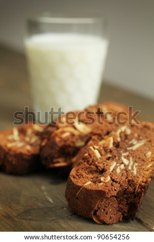 Pieces of chocolate cake with a glass of milk