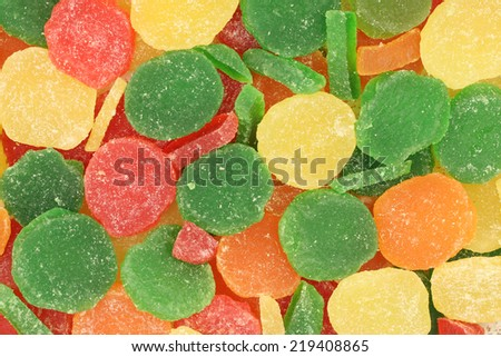 pieces of colored jelly abstract background