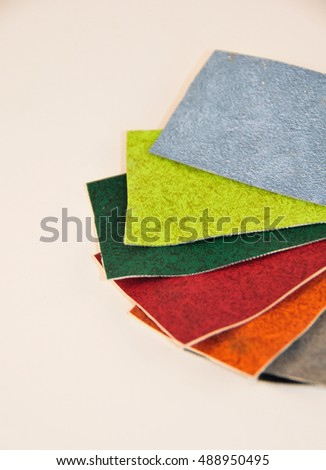 pieces of colored leather