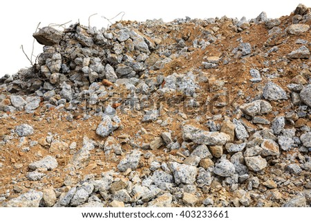 Pieces of concrete and brick rubble debris on construction site on white background - stock photo