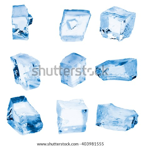 Pieces of Crushed  ice isolated on a white background.