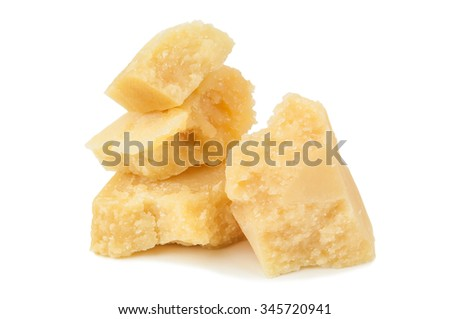 pieces of delicious parmesan on white background - stock photo