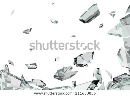 Pieces of demolished or Shattered glass isolated on white - stock photo