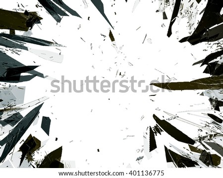 Pieces of demolished or Shattered glass isolated on white. Large resolution