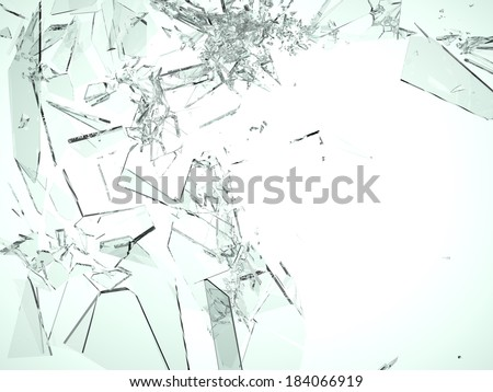 Pieces of demolished or Shattered glass on white isolated  - stock photo