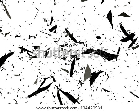 Pieces of destructed or Shattered glass on white - stock photo