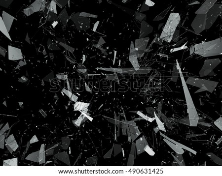 Pieces of destructed Shattered glass on black. 3d rendering 3d illustration
